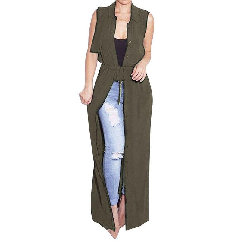 Summer Style Women Chiffon   Blouse     Shirt   Long Cardigan Turn-Down Collar Sleeveless Maxi Long Tops See Through Lace Up Beachwear