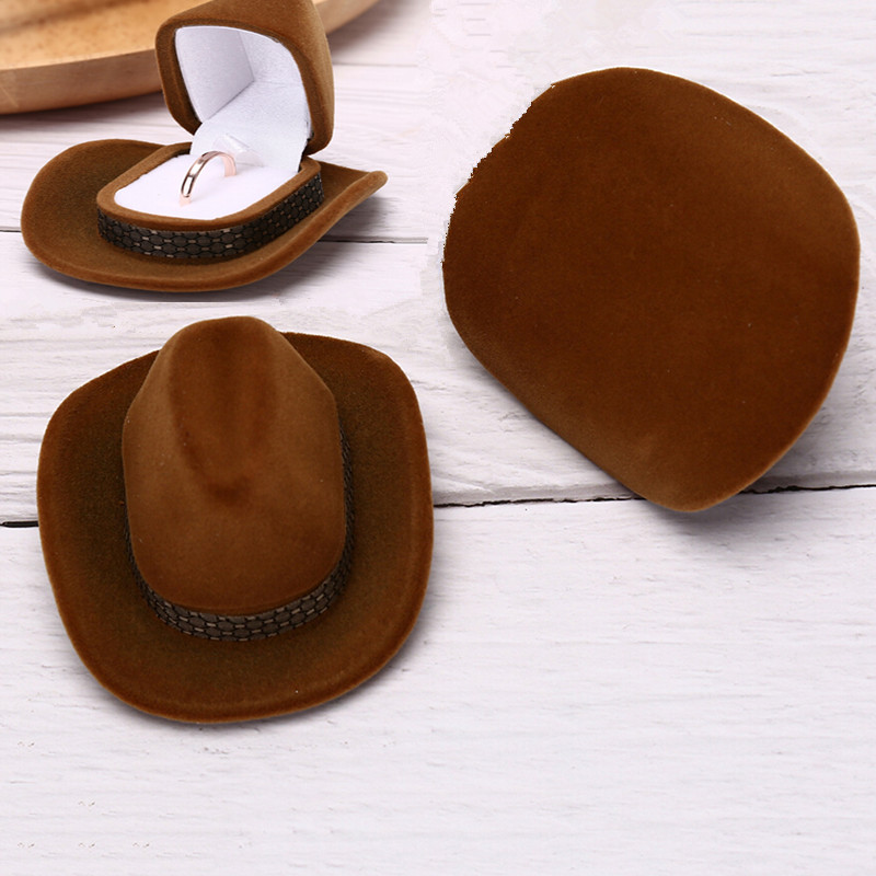 Cowboy Hat Shape Velvet Ring Earrings Organizer Jewelry Stand Holder Funny  Jewelry Box For Wedding Anniversary Valentine s Day-in Jewelry Packaging ... 44f14c46ba4