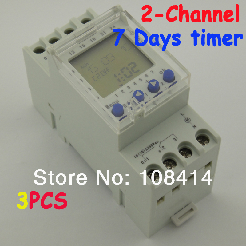 все цены на 2 Channel 7 Days Programmable Digital Time Switch 220V Timer Relay Control DIN Rail Mount, FREE SHIPPING онлайн