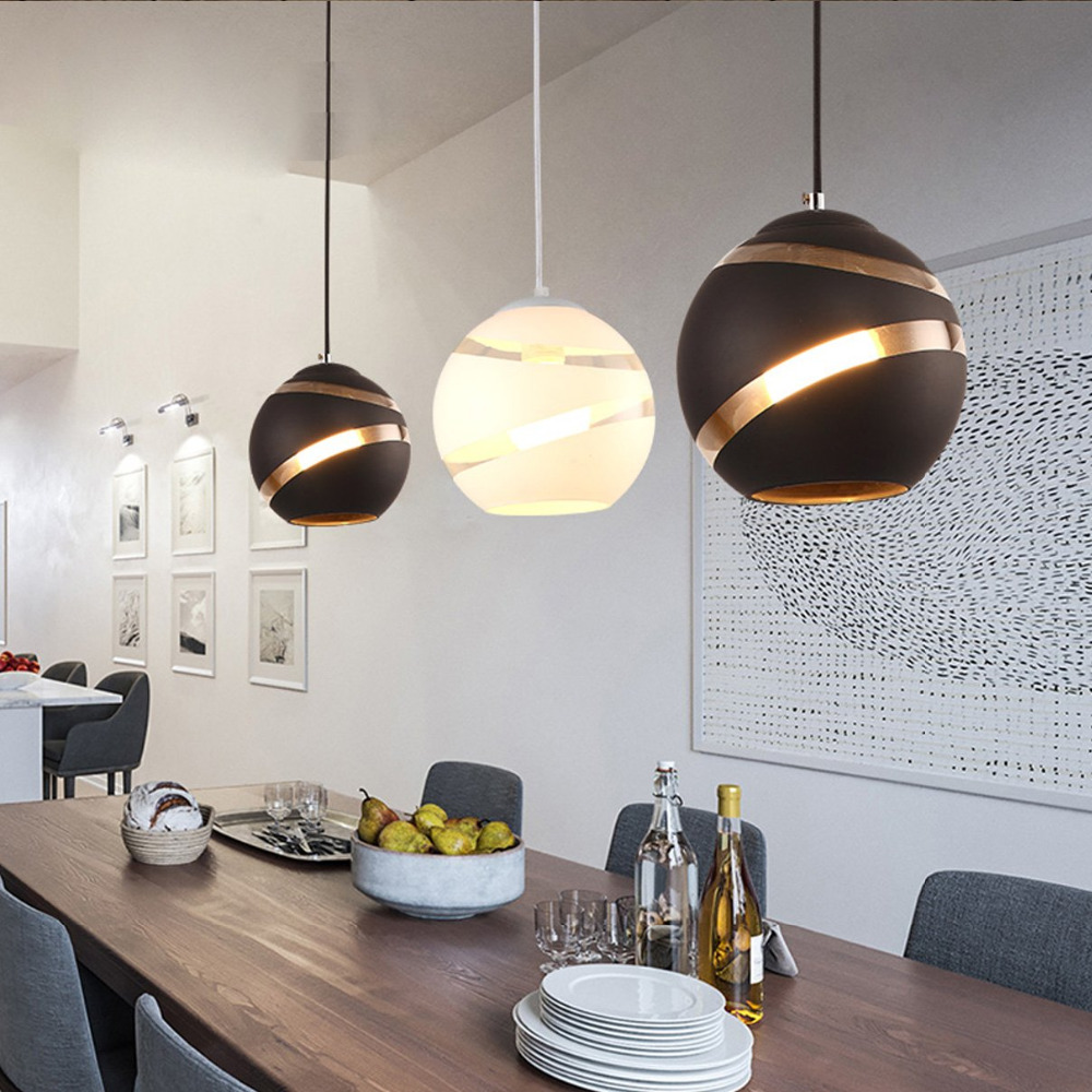 Dikale Glass Round Ball Pendant Lights E27 LED Suspension Luminaire Designer Minmalist Loft Lights Casual Living Room Lamps