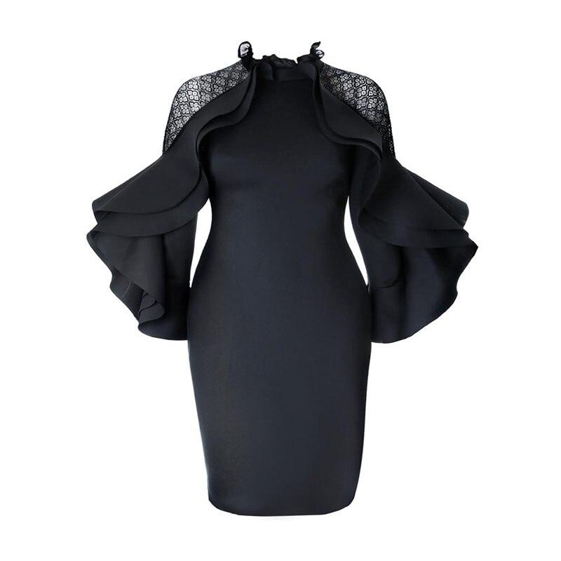 Women Elegant Large Sizes Dress Summer Black Bodycon Zipper Plain Falbala Patchwork Dignified Girls Popular High Quality Dresses