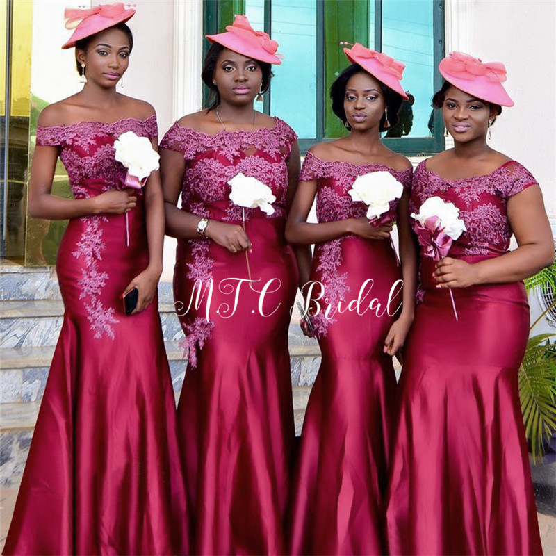 New 2019 African   Bridesmaid     Dresses   Burgundy Satin Appliques Mermaid Long Wedding Party Gowns Custom Made Maid Of Honor   Dress