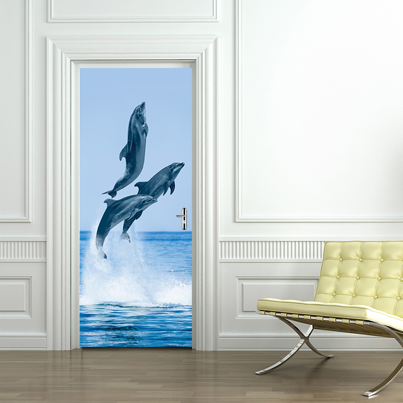 3D Dolphins Door Sticker PVC Self Adhesive Waterproof Photo Wall Mural Wallpaper Wall Sticker Children's Bedroom Home Decor