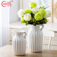 Modern Double Ear Vertical Stripes White Decorative Vases For Flowers Ceramic Home Room Tabletop Decoration Accessories Filler