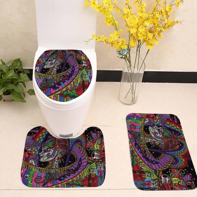 3pcs/lot India Mandala Bathroom Mat Set Flannel Floor Rug Cushion Toilet Seat Cover Bath Mat for Home Decor Bathroom Accessories