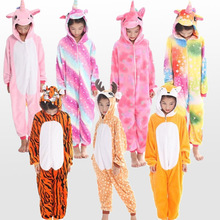 Купить с кэшбэком New flannel children's animal unicorn deer Pegasus Cosplay pajamas set boys and girls winter warm children's pajamas 4-12 Year
