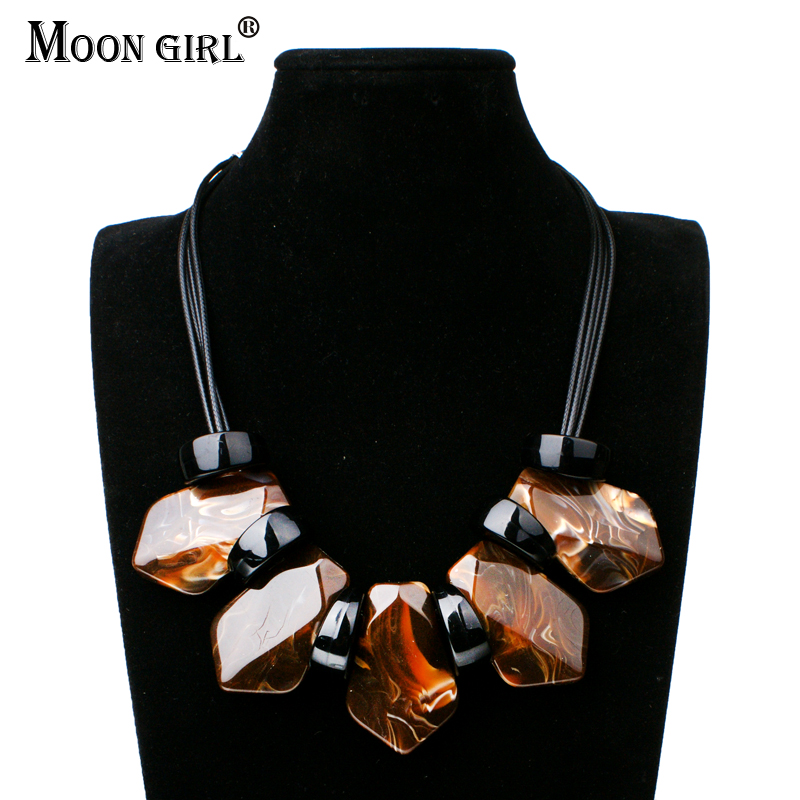 Systematic Moon Girl New Pu Rope Chain 2 Color Necklace 2017 Statement Fashion Jewelry Trendy Choker Necklaces & Square Pendants For Women Agreeable Sweetness
