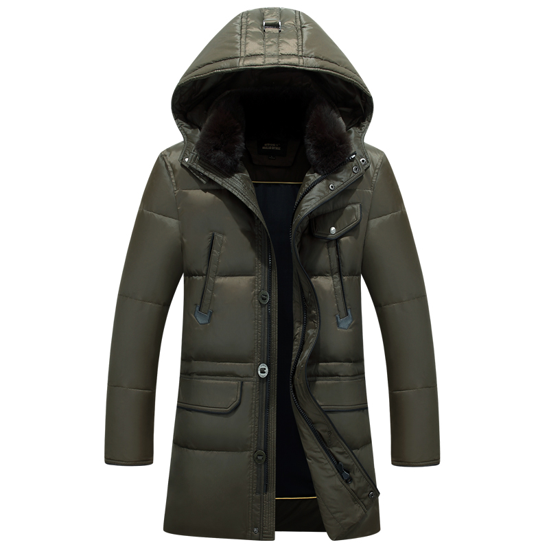 IN-YESON Winter Jacket Men White Duck Down Long Jackets Keep Warm Down Coat Casual Mens thick Down Overcoat Jackets parka homme