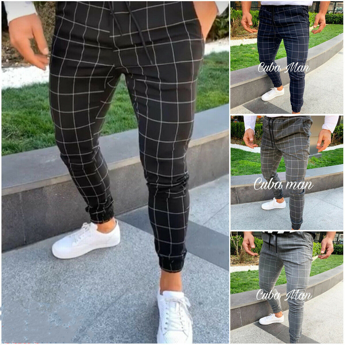 2019 Brand New Fashion Men's Plaid Twill Jogger Pants Urban Hip Hop Harem Casual Trousers Slim