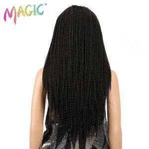 Image 4 - Magic Tóc 26 Inch Tổng Hợp Phối Ren Phía Trước Bộ Tóc Giả Cho Nữ Màu Đen Móc Dây Bện Xoắn Jumbo Oai Giả Locs Kiểu Tóc Dài tóc