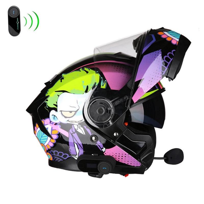 Motorcycle full face helmet with Bluetooth motocross racing casco motorbike capacete built-in sun visor