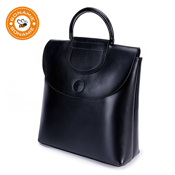 BONAMIE Genuine Leather Classic Black Women's Backpack Bag Fashion Luxury Vintage Real Leather Lady Backpack For Girls Female