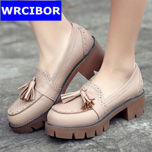 2017 NEW vintage Fretwork british style Women Oxford shoes leather Cow Muscle bottom high heels shoes fashion women pumps shoes