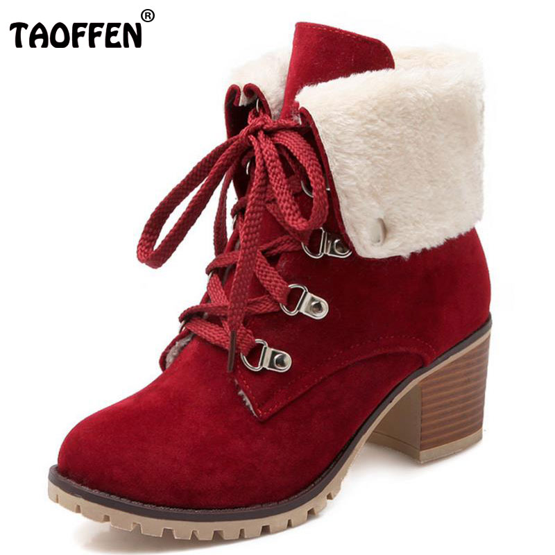 TAOFFEN Size 34 43 Ladies Thick Fur Ankle Boots Women High ...