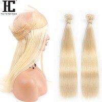 Малайзии прямые 2 Связки с 360 фронтальной 613 блондинка переплетения человеческих волос Связки с фронтальной застежка 3 шт. Волосы remy с closue