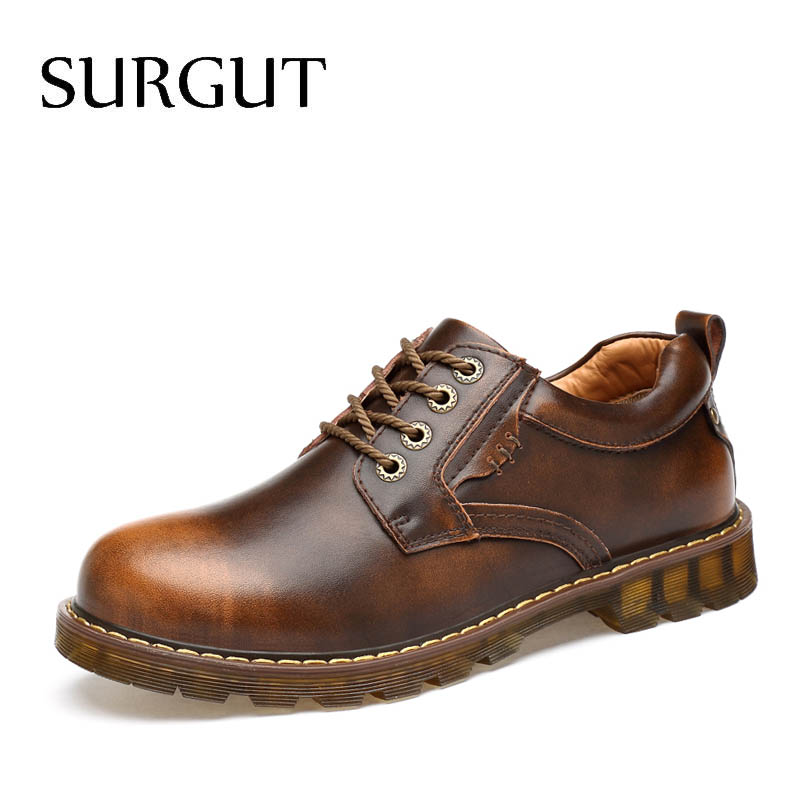 SURGUT Fashion High Quality Men Shoes Men Breathable Casual Shoes For Spring Autumn Male Footwear Working Shoes Leather Oxfords vesonal 2017 brand casual male shoes adult men crocodile grain genuine leather spring autumn fashion luxury quality footwear man