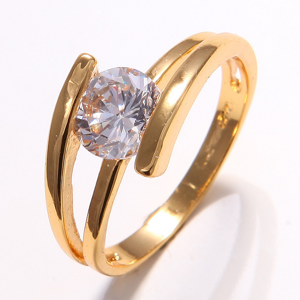 Wholesale Price 10K Yellow Gold Filled Womens White ... Jewellery Rings For Women