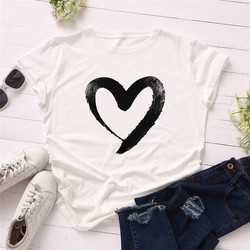 Plus Size S-5XL New Heart Print T Shirt Women 100% Cotton O Neck Short Sleeve Summer T-Shirt Tops Casual Tshirt women shirts 10
