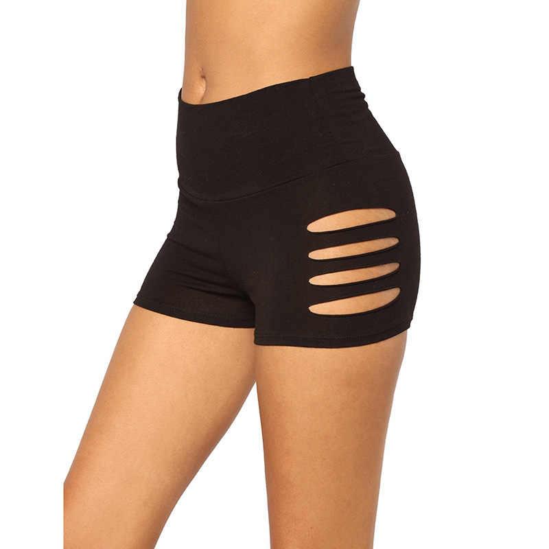 2019 Sexy do Verão Escavar Shorts Cintura Elástica Athleisure Calções Mulheres Preto Meados de Cintura Calções Esportivos
