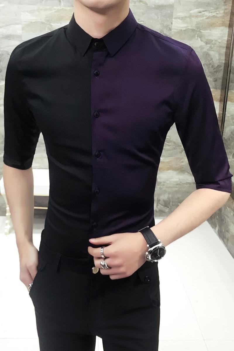 Patckwork Summer Shirt For Men Purple Black Stylish Shirts For Men