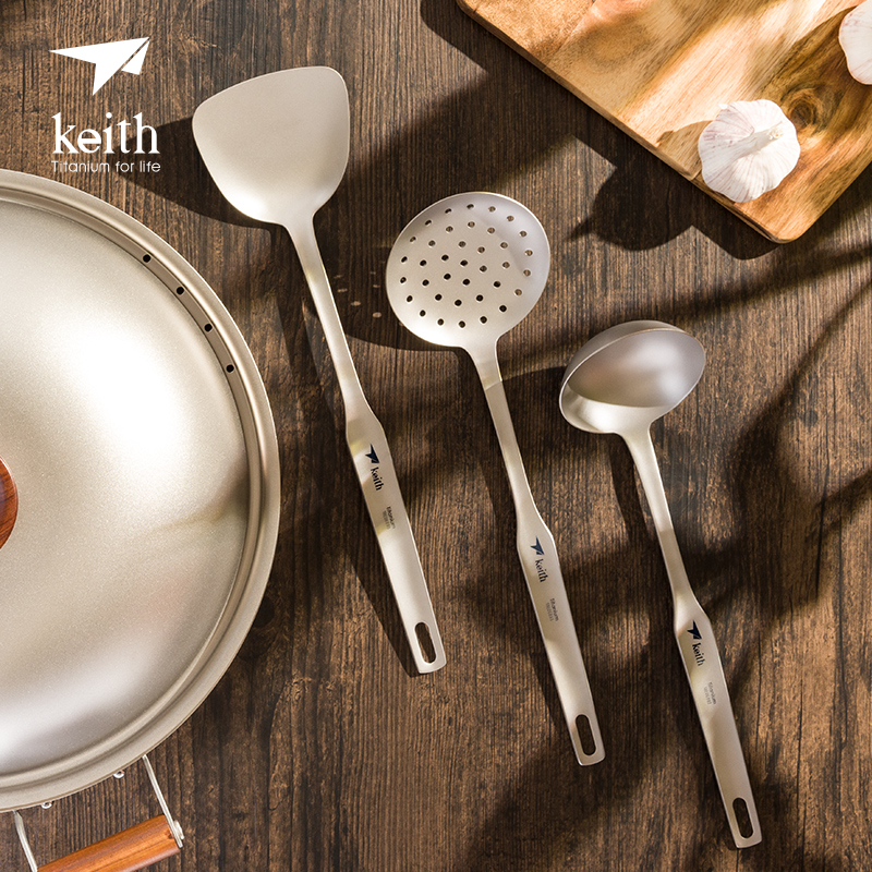 Keith pur titane ustensiles de cuisine longue poignée anti-brûlure titane cuillère passoire cuisine pelle spatule trois pièces costume