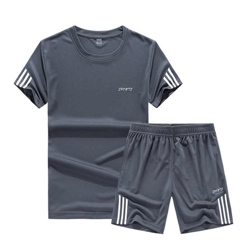 Летний комплект, мужской повседневный костюм из двух предметов, футболка с короткими рукавами и шорты, комплекты Мужской уличная одежда, спортивный костюм, мужские шорты, спортивный костюм 2019