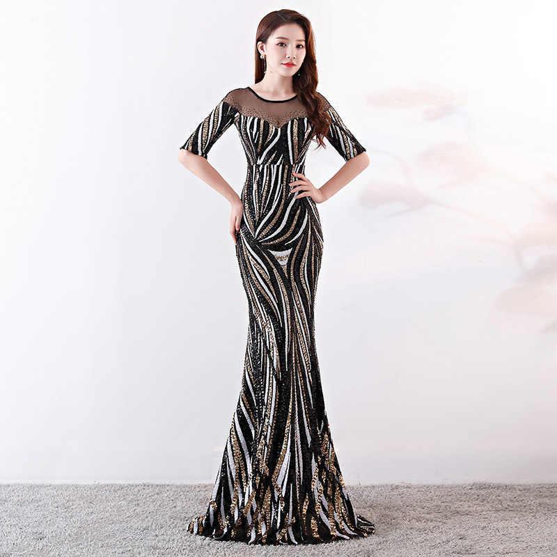 f02624a9057 Роскошные черные и белые в полоску блестками Алмазный половины рукав  длинный вечерние Вечеринка платья Элегантный сексуальное