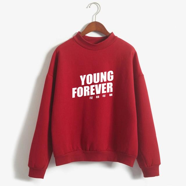 Women KPOP BTS Young Forever Hoodies Bangtan Boys Sweatshirt Streetwear Kawaii Fleece Suga Bts Loose Hoodie Clothing