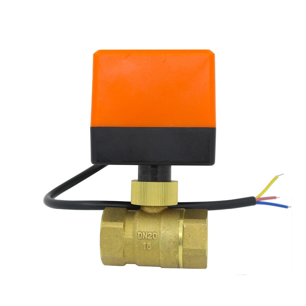 DN20 AC220v DC24v DC12v Electric Motorized Brass Ball Valve With Electric Drive Actuator 2 Way G3/4 Plumbing CN01 CN02