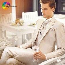 Khaki Men Suits for Wedding Custom Made Groomsmen Blazers Jacket 3Piece Man Pants Vest Slim Fit Groom Tuxedo Morning Party
