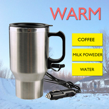 12V 450ML Stainless Steel Cup Kettle Travel Coffee Heated Mug Portable Electric Car Water Heater Ket