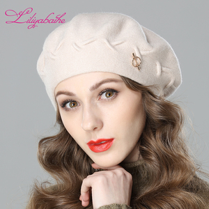 Image 2 - Liliyabaihe New women winter hat Wool knit berets, caps latest popular decoration solid colors fashion lady hat