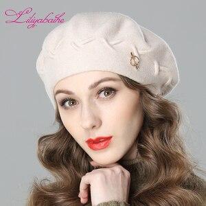 Image 2 - Liliyabaihe Yeni kadın kış şapka Yün örgü bere, kapaklar son popüler dekorasyon katı renk moda bayan şapka
