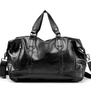 Image 4 - 男性のハンドバッグの革大容量トラベルバッグファッションショルダーバッグ男性トラベルダッフルトートバッグカジュアルメッセンジャークロスボディバッグ