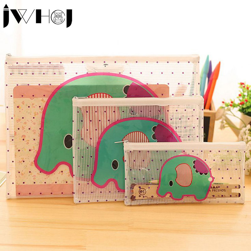 1pcs Portable Cute cartoon Style waterproof Multifunction Zipper document envelope data Case School Supplies stationery
