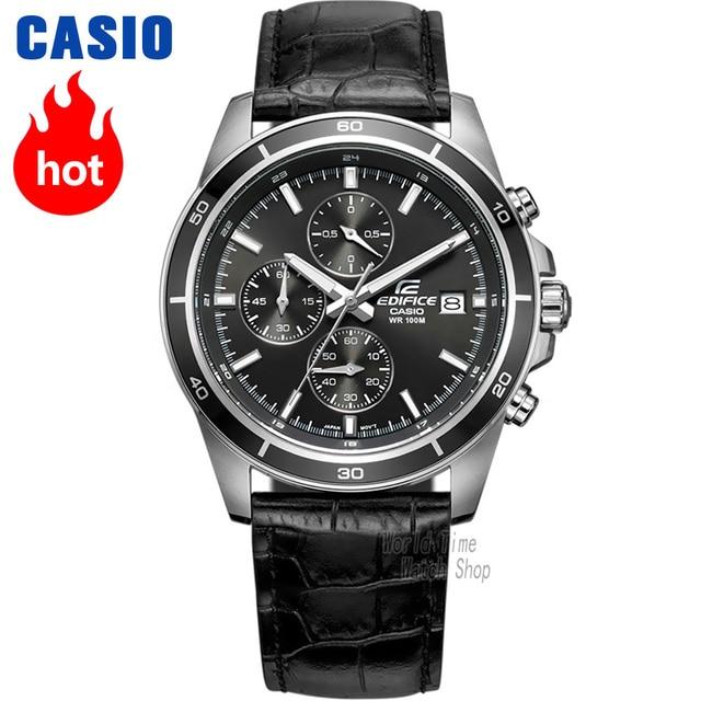 2c6d997ca7f Relógio Casio Edifice Relógio Esportivo com Pulseira de Couro de Quartzo  dos homens Correia de Aço