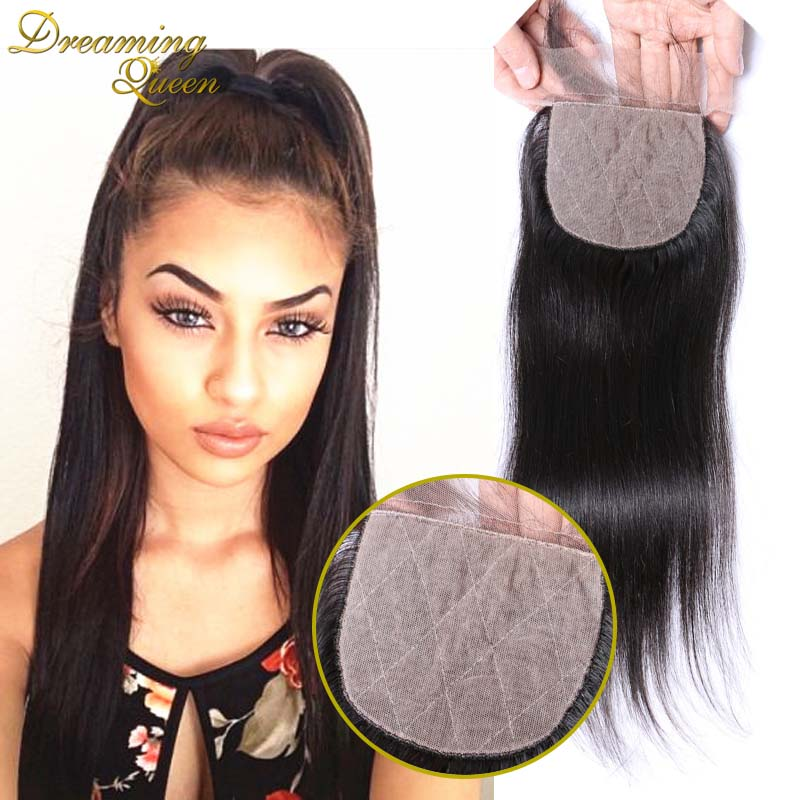 ФОТО 7A Peruvian Silk Base Closure Straight 4x4 Silk Base Closure Free/Middle/3 Part Peruvian Human Hair Straight Silk Base Closure