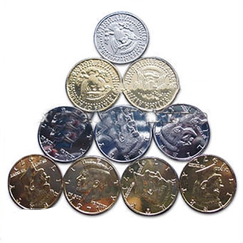 Gold And Silver Fifty Cents Double Back Side Optional Only One Pc Magic Props Magic Tricks