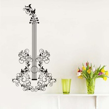 """""""Floral Art Guitar Wall Stickers Diy Large Size Self Adhesive Wall Decal Home Decor Living Room Bedroom Window Decoration Mural"""