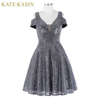 Elegant Short Sequin Cocktail Dresses Mother Of The Bride Banquet Dress Dark Grey Shiny Cocktail Dress