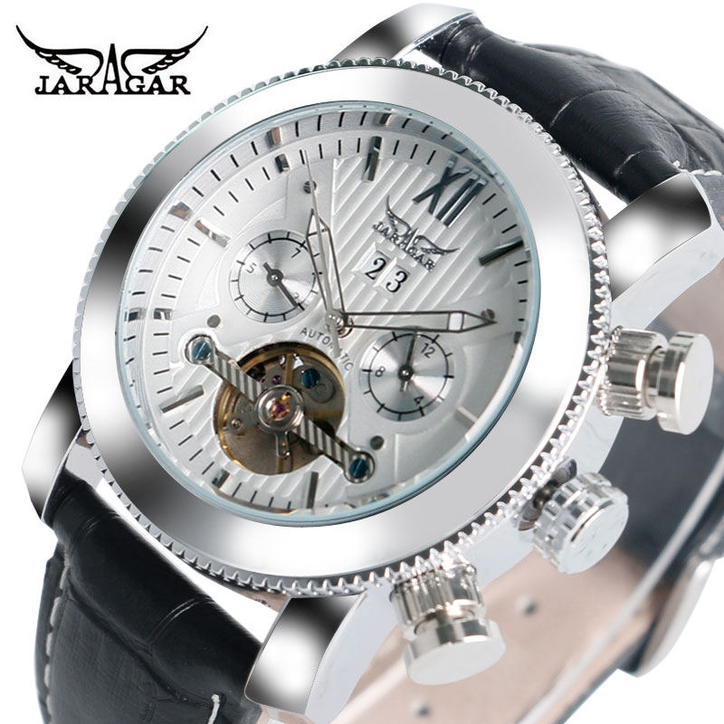 JARAGAR Automatic Mechanical Watch Men Luxury Brand Date Day Display Creative Watches Business Leather Band Clock Gift 2017 New mens watches top brand luxury 2017 aviator white automatic mechanical date day leather wrist watch business reloj hombre