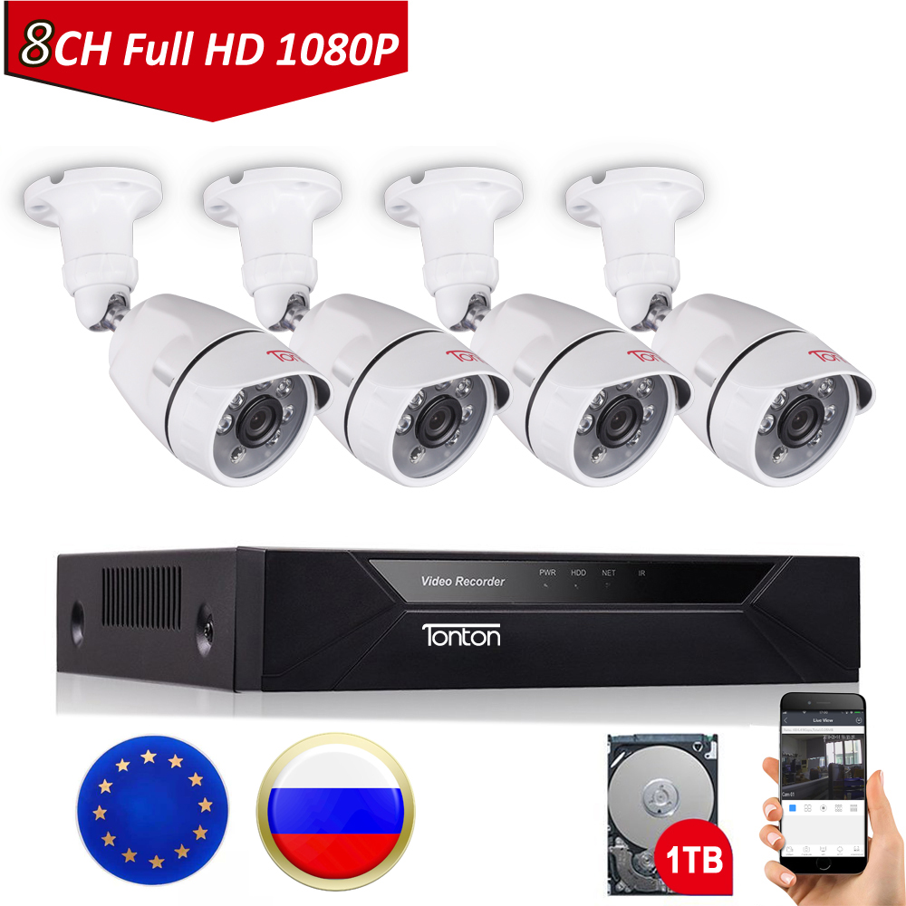 Tonton 8CH 1080P CCTV Security Camera System P2P HDMI H.264 5-in-1 DVR Video Surveillance Waterproof Outdoor Camera Kit 1TB HDD