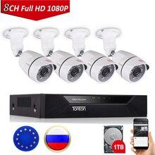 Tonton 8ch 1080 p cctv sistema de câmera de segurança p2p hdmi h.264 5 em 1 dvr kit de câmera de vigilância de vídeo impermeável ao ar livre 1 tb hdd