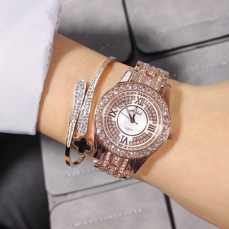 Luxury Quartz Fashion Women Watch Woman Rhinestone Brand Watch Lady Dress Austria Crystal Steel Casual Female