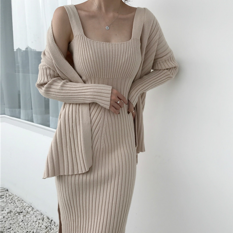 Hand Knitted Camis Dress + Long sleeved Knitted Cardigan Two piece Women's Sets Sweater OL Dress 2pcs/set