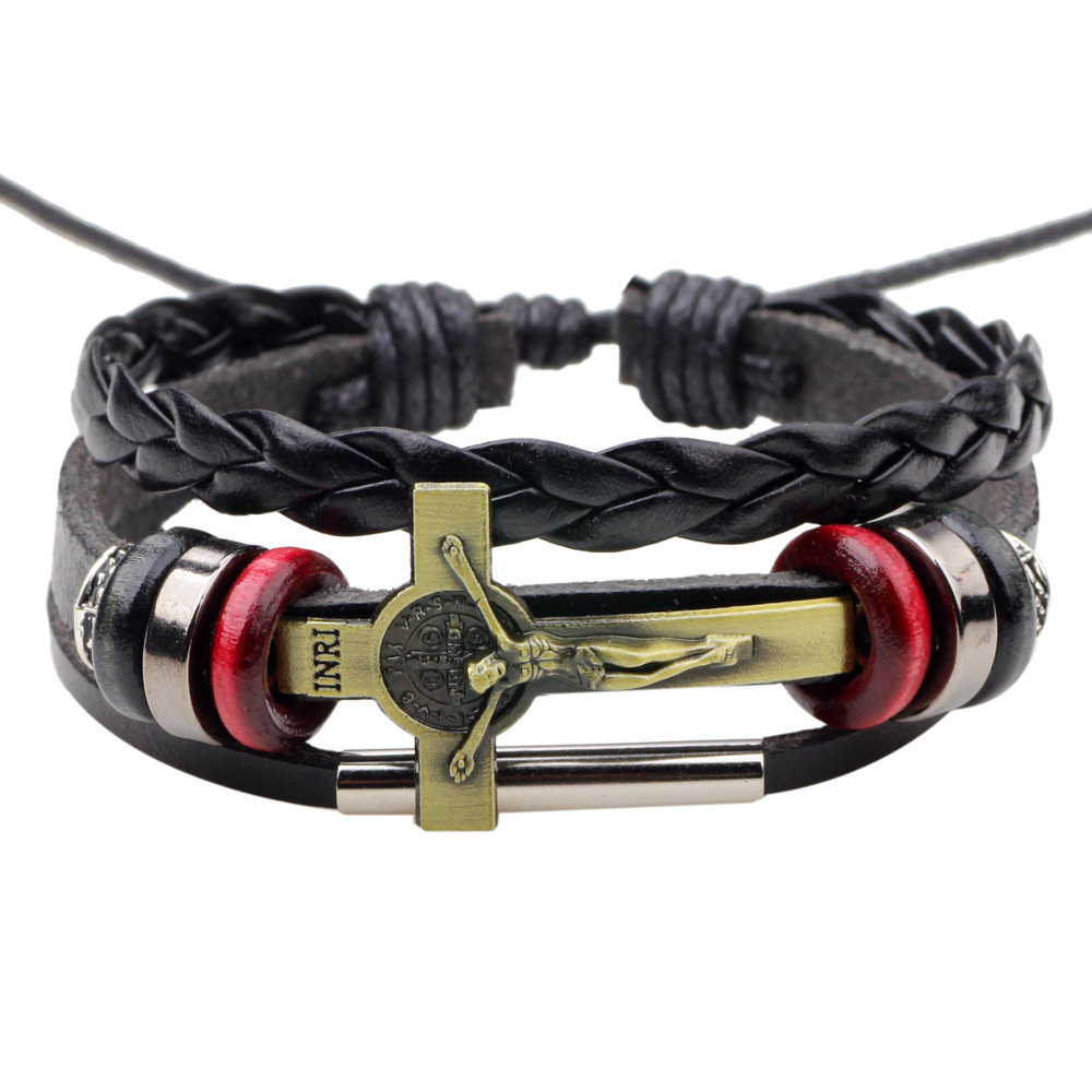 ER Vintage Ethnic Jesus Bracelet Men Handmade Braid Genuine Leather Cross Bracelet Wrap Friendship Braclet Male Jewelry LB198