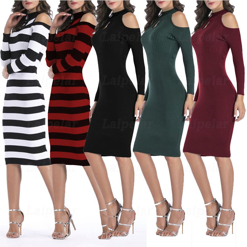 Laipelar Autumn Winter Hole Bodycon Dresses Elegant Womens Knitted Robe Long Sleeve Cocktail Party Dresses Slim Fit OL Vestidos in Dresses from Women 39 s Clothing