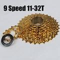 Золотая безколесная 9-скоростная 11-32t Золотая кассета BMX горный велосипед для велоспорта freewheel