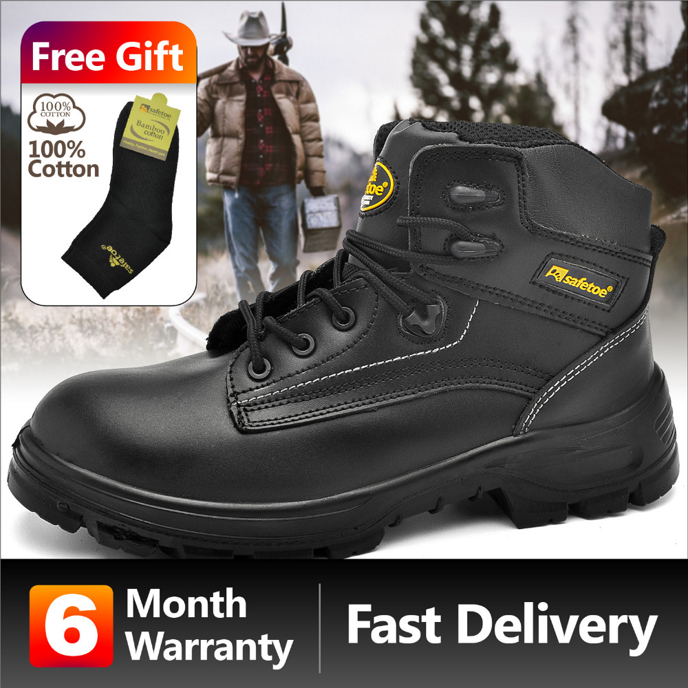 Safetoe Safety Shoes Work Boots Men Steel Toe Cap Nubuck Leather Breathable UK Size 2-13 Hiker Abrasion Resistant S3 SRC super shock absorbing steel toe cap safety shoes tear resistant breathable work shoes