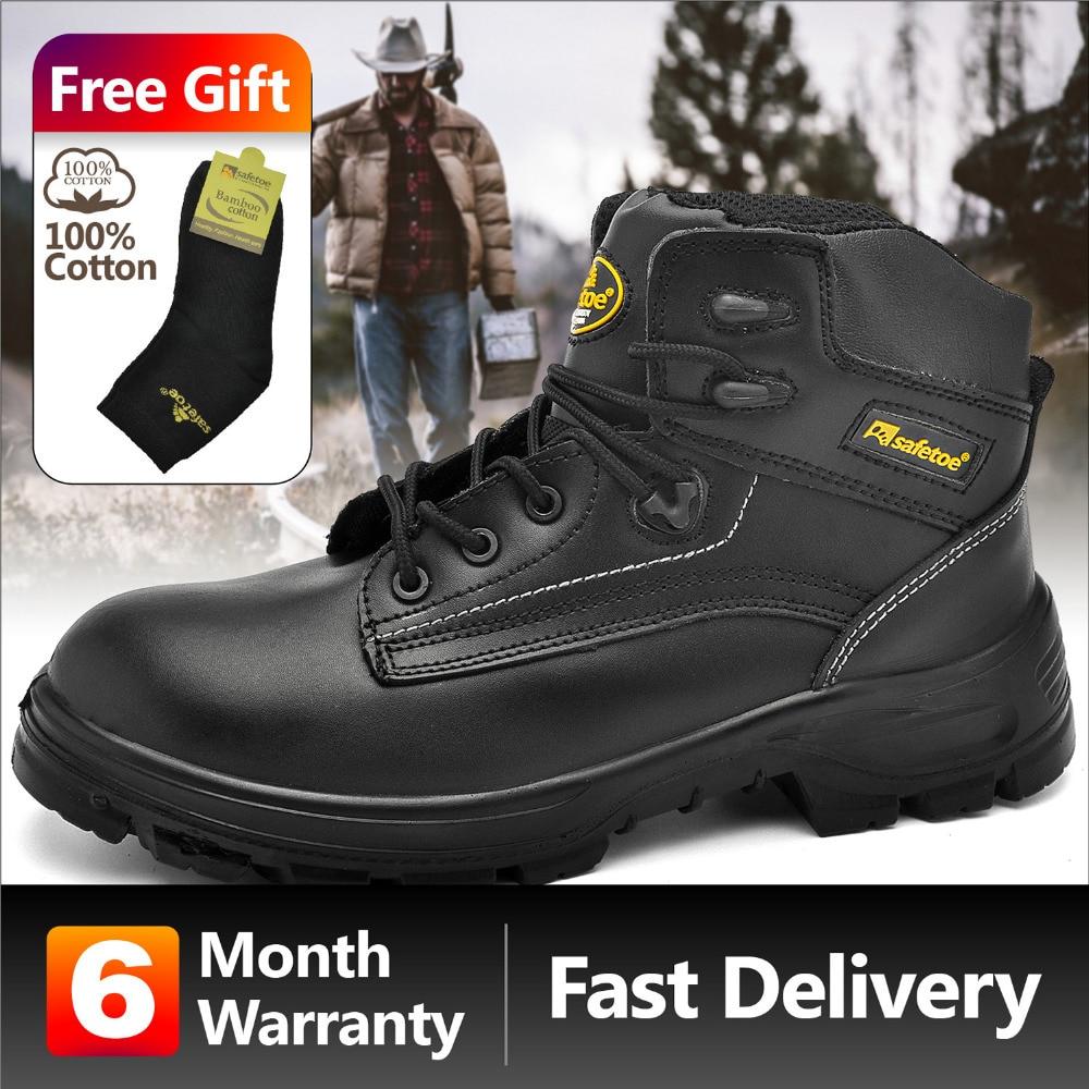 Safetoe Safety Shoes Work Boots Men Steel Toe Cap Nubuck Leather Breathable UK Size 2-13 Hiker Abrasion Resistant S3 SRC